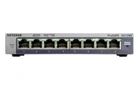 Netgear ProSAFE Unmanaged Plus Switch - GS108E - 8 Gigabit Ethernet poorten
